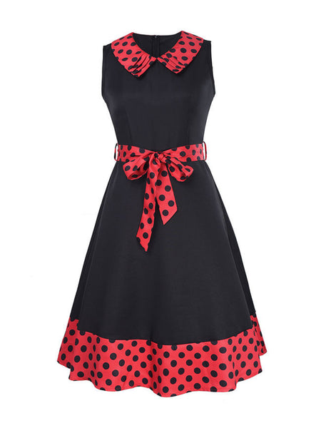 Casual Doll Collar Bowknot Polka Dot Delightful Plus Size Flared Dress