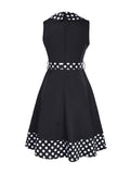 ByChicStyle Casual Doll Collar Bowknot Polka Dot Delightful Plus Size Flared Dress