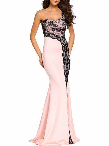 Delightful One Shoulder Decorative Lace High Slit Evening Dress - Bychicstyle.com