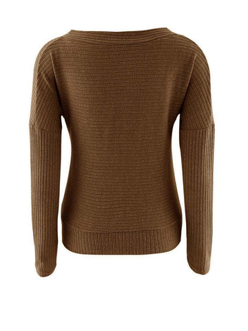 Casual Deep V-Neck Plain Glamorous Designed Plus Size Sweater