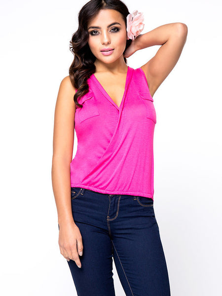 Surplice High-Low Solid Sleeveless T-Shirt With Flap Pocket - Bychicstyle.com