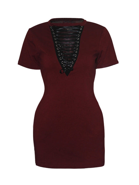 Casual Band Collar Lace-Up Plain Sexy Club Plus Size Bodycon Dress