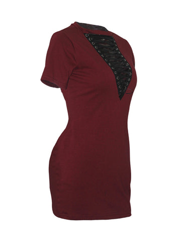 Band Collar Lace-Up Plain Sexy Club Plus Size Bodycon Dress - Bychicstyle.com