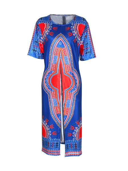 Longline Vented Tribal Printed Round Neck Plus Size Short Sleeve T-Shirt - Bychicstyle.com