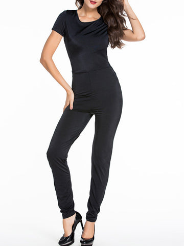 Modern Black Round Neck Back Hole Plain Slim-Leg Jumpsuit - Bychicstyle.com