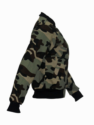 Casual Band Collar Pocket Camouflage Bomber Plus Size Jacket