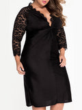 ByChicStyle Black Sexy Deep V-Neck Hollow Out Plain Plus Size Bodycon Dress - Bychicstyle.com