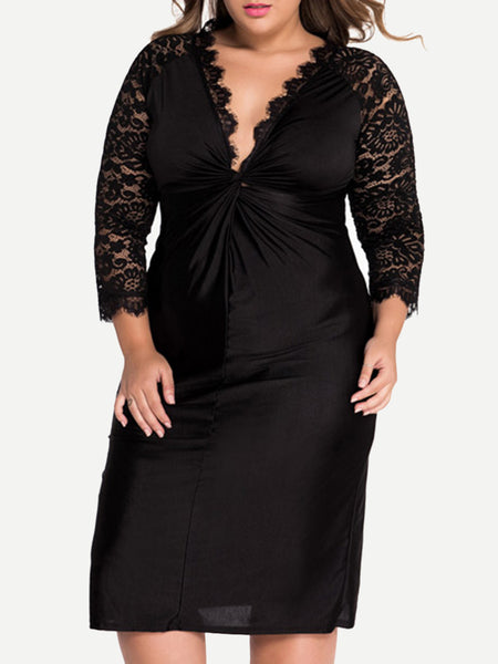 Black Sexy Deep V-Neck Hollow Out Plain Plus Size Bodycon Dress - Bychicstyle.com