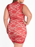 ByChicStyle Square Neck Decorative Lace Sexy Plus Size Bodycon Dress - Bychicstyle.com