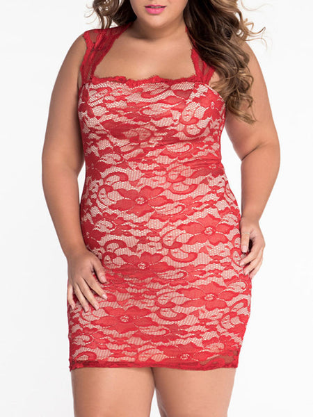 Square Neck Decorative Lace Sexy Plus Size Bodycon Dress - Bychicstyle.com
