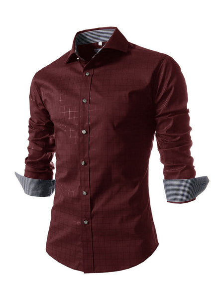 Turn Down Collar Single Breasted Office Style Plaid Men Shirt - Bychicstyle.com