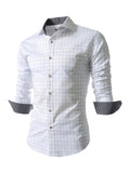 ByChicStyle Turn Down Collar Single Breasted Office Style Plaid Men Shirt - Bychicstyle.com