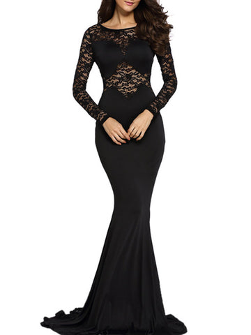 Black Round Neck Patchwork Hollow Out Plain Evening Dress - Bychicstyle.com