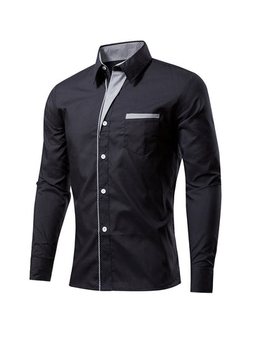 Office Turn Down Collar Single Breasted Men Shirt - Bychicstyle.com