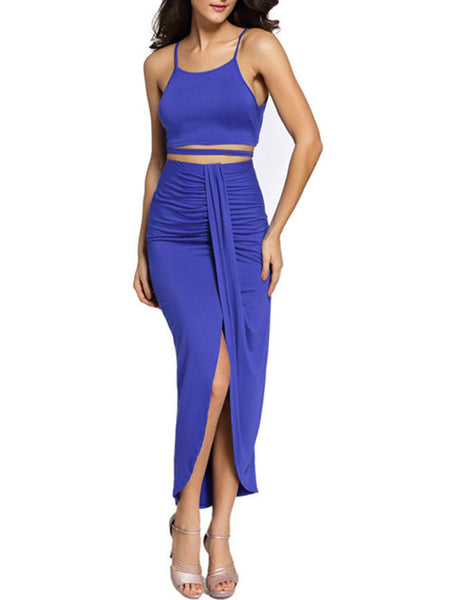 Casual Attractive Spaghetti Strap Plain Crop Top And Slit Skirt