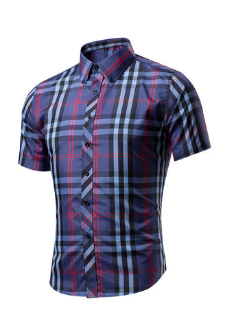 Short Sleeve Basic Turn Down Collar Single Breasted Plaid Men Shirt - Bychicstyle.com