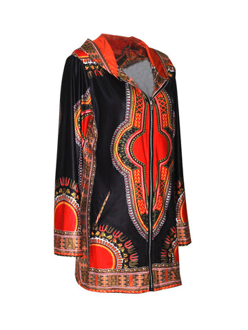Hooded Slit Pocket Tribal Printed Fabulous Thin Plus Size Coat - Bychicstyle.com