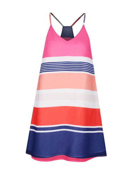 Spaghetti Strap Racerback Striped Plus Size Shift Dress - Bychicstyle.com