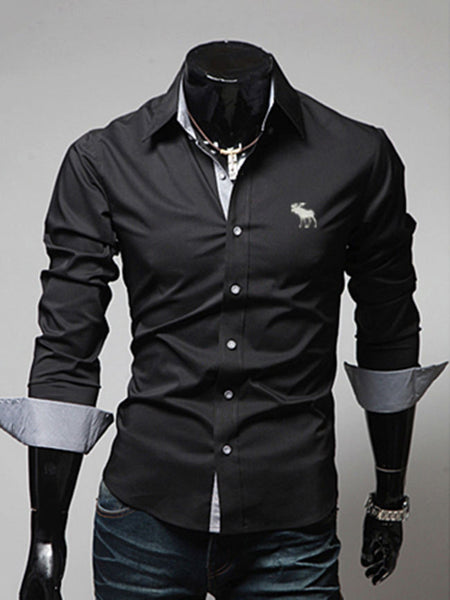 Turn Down Collar Single Breasted Office Men Shirt - Bychicstyle.com