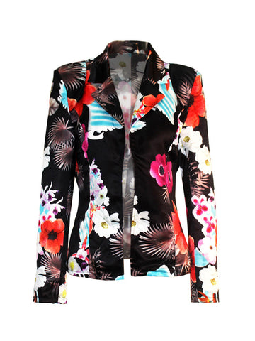 Glamorous Designed Lapel Floral Plus Size Printed Blazer - Bychicstyle.com