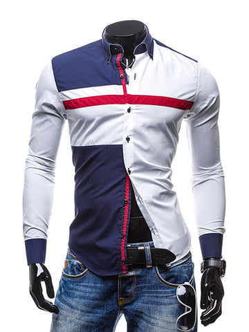 Turn Down Collar Single Breasted Color Block Men Shirt - Bychicstyle.com