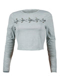 ByChicStyle Crew Neck Lace-Up Exposed Navel Plain Plus Size Long Sleeve T-Shirt - Bychicstyle.com
