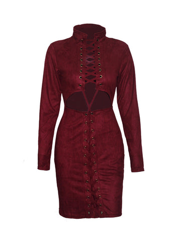Casual Band Collar Cutout Lace-Up Exposed Navel Plain Plus Size Bodycon Dress