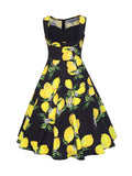 ByChicStyle Sweet Heart Fruit Lemon Printed Plus Size Skater Dress - Bychicstyle.com