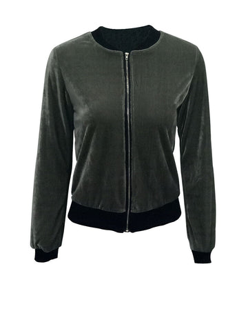 Casual Band Collar Velvet Plain Bomber Plus Size Jacket