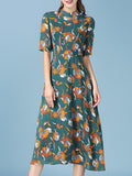 ByChicStyle Casual Band Collar Vintage Floral Printed Plus Size Maxi Dress