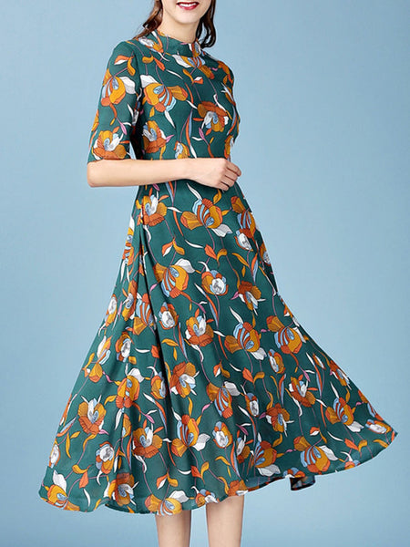 Casual Band Collar Vintage Floral Printed Plus Size Maxi Dress