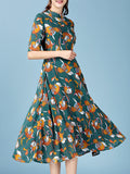 Streetstyle  Casual Band Collar Vintage Floral Printed Plus Size Maxi Dress