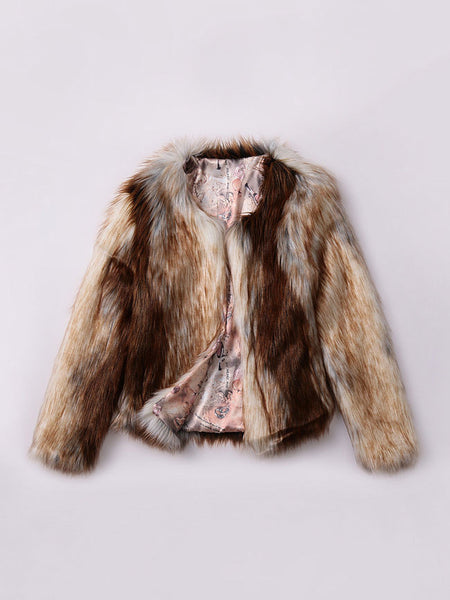 Fluffy Fancy Gradient Faux Fur Collarless Plus Size Coat - Bychicstyle.com