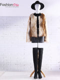 ByChicStyle Fluffy Fancy Gradient Faux Fur Collarless Plus Size Coat - Bychicstyle.com