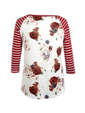 ByChicStyle Casual Attractive Floral Striped Round Neck Plus Size Raglan Sleeve T-Shirt