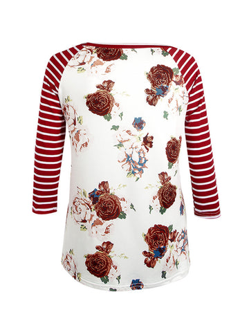 Casual Attractive Floral Striped Round Neck Plus Size Raglan Sleeve T-Shirt