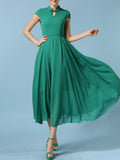 ByChicStyle Band Collar Keyhole Plain Chiffon Plus Size Maxi Dress - Bychicstyle.com