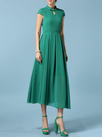 Band Collar Keyhole Plain Chiffon Plus Size Maxi Dress - Bychicstyle.com
