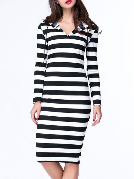 Black White Hooded Striped Plus Size Bodycon Dress - Bychicstyle.com