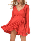 ByChicStyle Casual Bell Sleeve Deep V-Neck Ruffled Hem Plain Plus Size Skater Dress