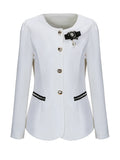 ByChicStyle Collarless Brooch Single Breasted Plus Size Blazer - Bychicstyle.com