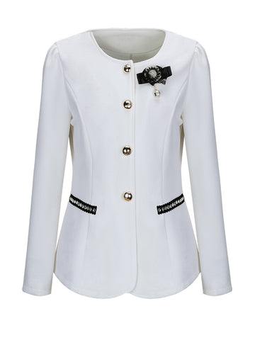 Collarless Brooch Single Breasted Plus Size Blazer - Bychicstyle.com