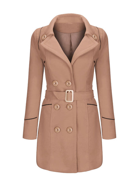 Lapel Contrast Trim Double Breasted Woolen Plus Size Coat - Bychicstyle.com