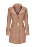 ByChicStyle Lapel Contrast Trim Double Breasted Woolen Plus Size Coat - Bychicstyle.com