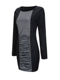 ByChicStyle Casual Pleated Round Neck Color Block Plus Size Bodycon Dress