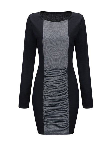 Casual Pleated Round Neck Color Block Plus Size Bodycon Dress