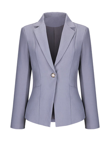 Formal Notch Lapel Single Button Plain Plus Size Blazer - Bychicstyle.com