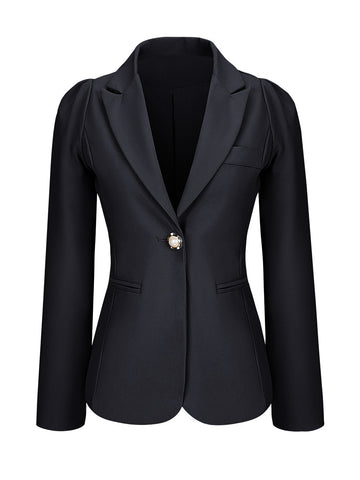 Single Button Notch Lapel Plain Plus Size Puff Sleeve Plus Size Blazer - Bychicstyle.com