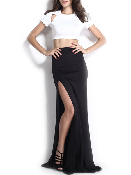 Crew Neck Cutout Crop Top And High Slit Maxi Skirt - Bychicstyle.com