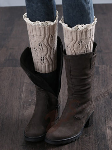 Solid Patterned Knit Leg Warmer - Bychicstyle.com
